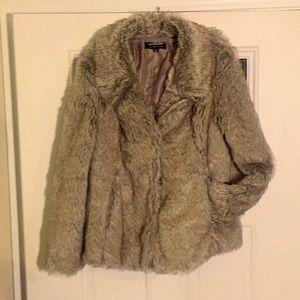 Faux mink fox coyote sable coat fur grey taupe